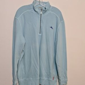 TOMMY BAHAMA Mens XL 1/4 Zip Relax Pullover Cotton